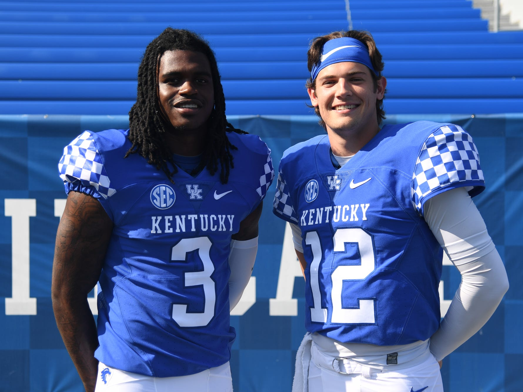 QB Terry Wilson and Gunnar Hoak during the UK football media day at Kroger Filed in Lexington, Kentucky on Friday, August 3, 2018.