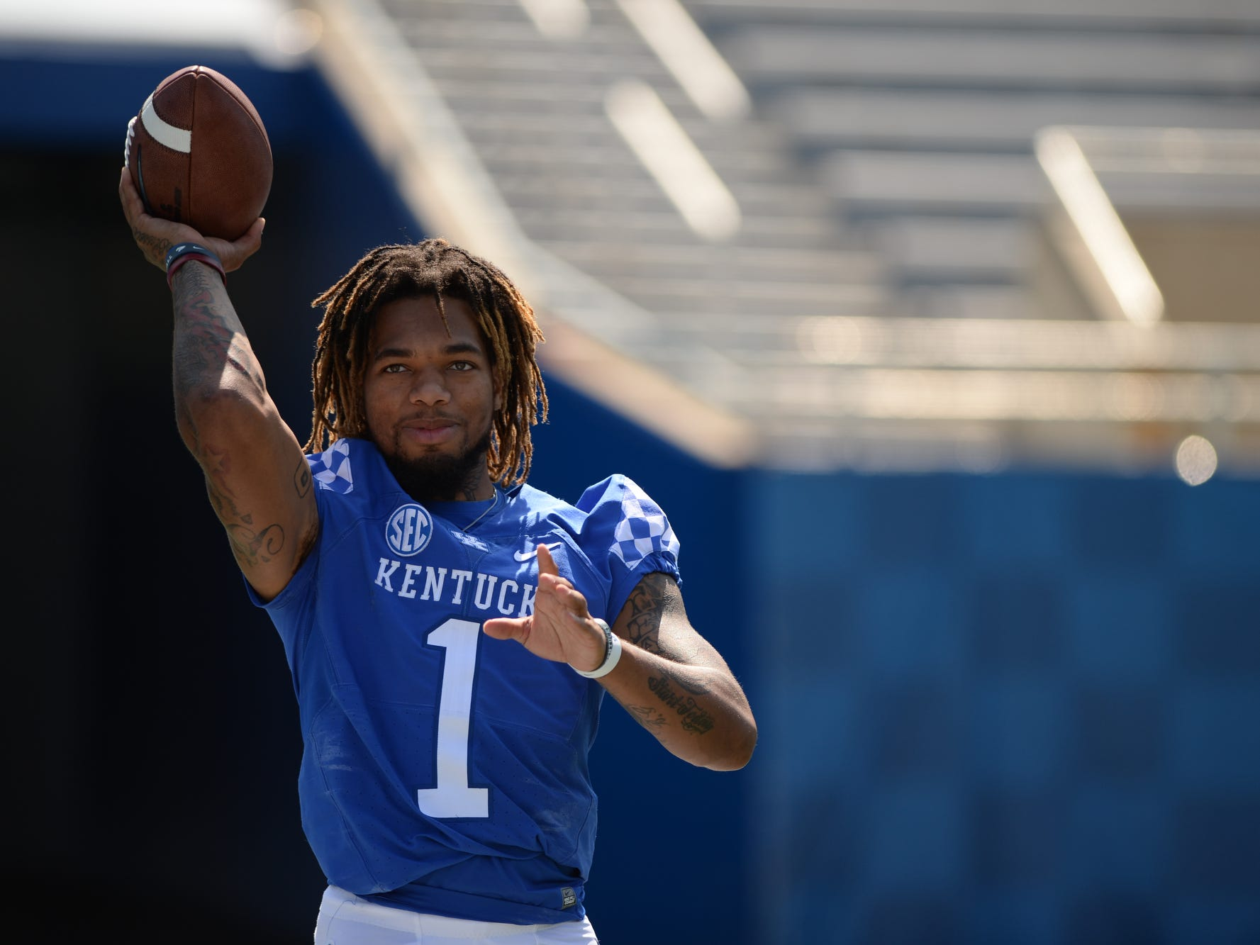 WR Lynn Bowden, Jr. plays catch during the UK football media day at Kroger Filed in Lexington, Kentucky on Friday, August 3, 2018.