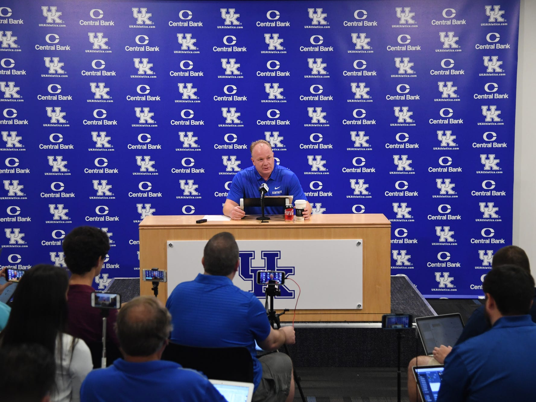 Head coach Mark Stoops holds a press conference during the UK football media day at Kroger Filed in Lexington, Kentucky on Friday, August 3, 2018.