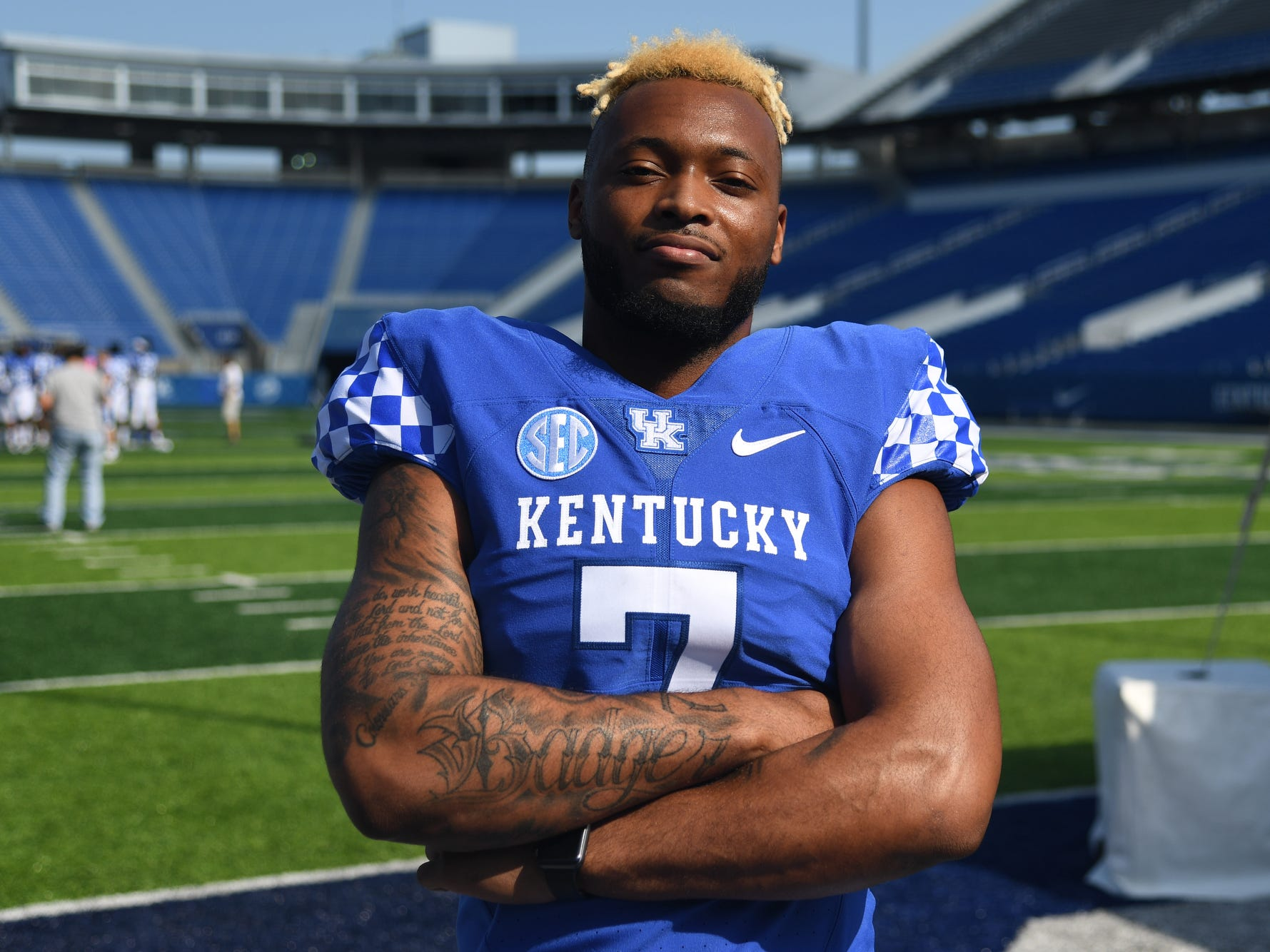 Safety Mike Edwards during the UK football media day at Kroger Filed in Lexington, Kentucky on Friday, August 3, 2018.