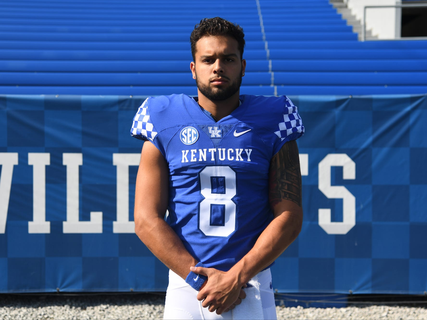 QB Danny Clark during the UK football media day at Kroger Filed in Lexington, Kentucky on Friday, August 3, 2018.