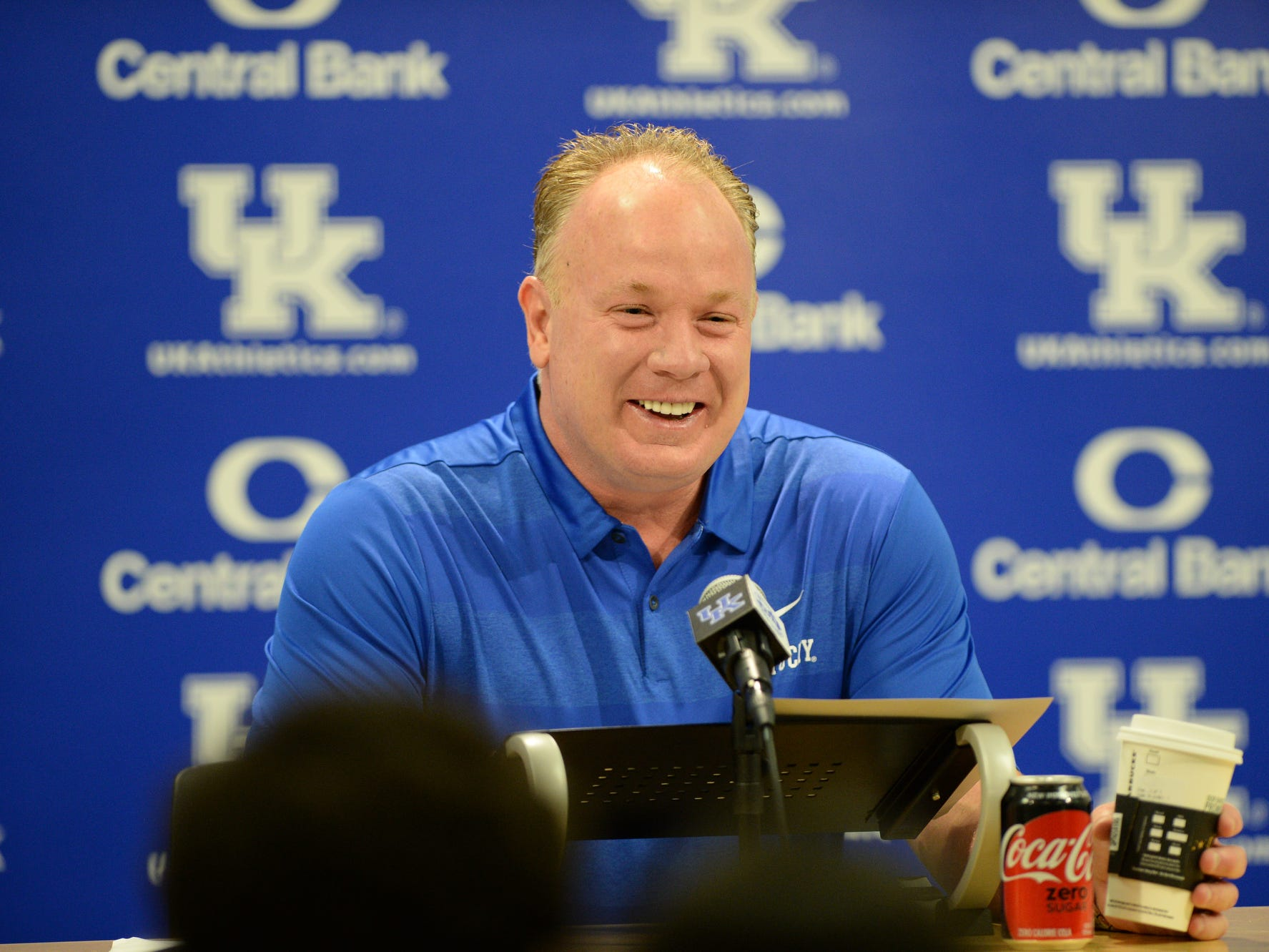 Head coach Mark Stoops during a press conference at the UK football media day at Kroger Filed in Lexington, Kentucky on Friday, August 3, 2018.