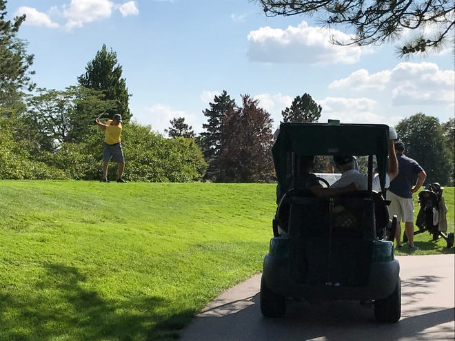 A participant in the All-City Golf Tournament, hosted at Forest Akers Golf Course, prepares to hit his drive on the 18th hole. The three-day tournament will conclude on Sunday, August 5 and prizes will be awarded to the top finishers in all four flighted divisions.