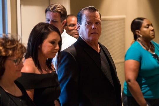 Jerry Lawler attends funeral services for his son Brian Christopher Lawler on Aug. 3, 2018, at Hope Church in Cordova.