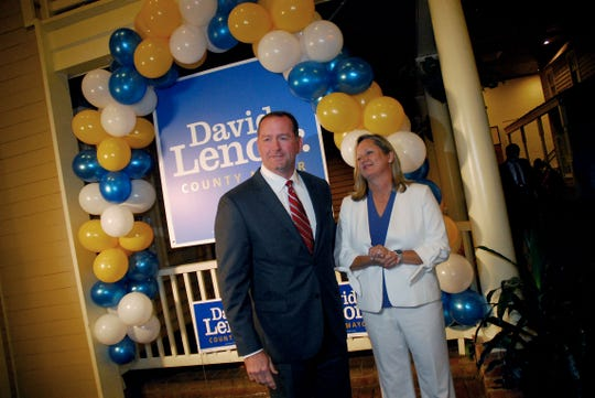 August 2, 2018 - David Lenoir, along with wife Shannon, prepares to addresses supporters at a watch party following Thursday's voting.  Lenoir, the Republican candidate for county mayor, was defeated by Democrat Lee Harris in the general election.