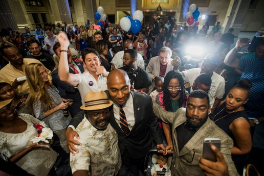 August 2, 2018 - Scenes from the watch party for Lee Harris, winner of the Shelby County mayoral election at One Commerce Square in downtown Memphis. Harris defeated Republican candidate David Lenoir.
