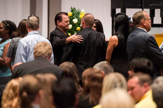 Jerry Lawler greets guests during funeral services for Brian Christopher Lawler on Aug. 3, 2018, at Hope Church in Cordova.