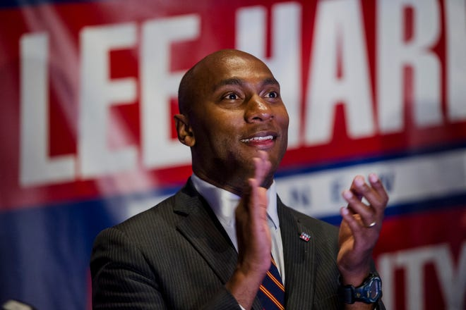 Lee Harris celebrates his win in the Shelby County mayor's race Aug. 2, 2018, at One Commerce Square in downtown Memphis. Harris defeated Republican candidate David Lenoir.