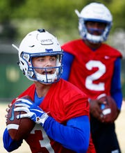University of Memphis quarterback Brady White (left) during the first day of practice for the 2018-19 season.
