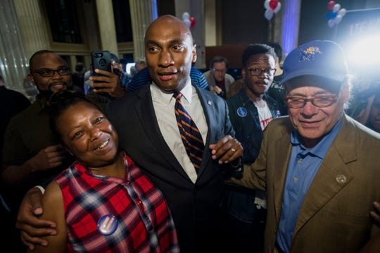 August 2, 2018 - Scenes from the watch party for Lee Harris (middle), winner of the Shelby County mayoral election at One Commerce Square in Downtown Memphis. Harris defeated Republican candidate David Lenoir.