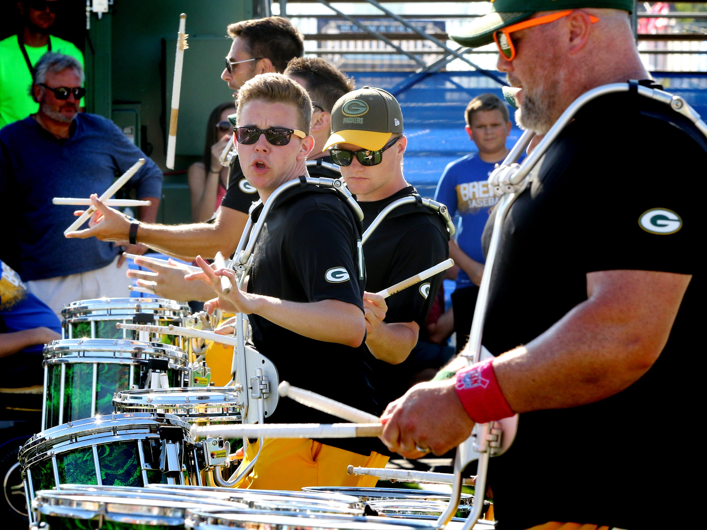 The Tundra Line pounds out a beat during one of its performances on opening day of the Wisconsin State Fair in West Allis on Aug. 2.