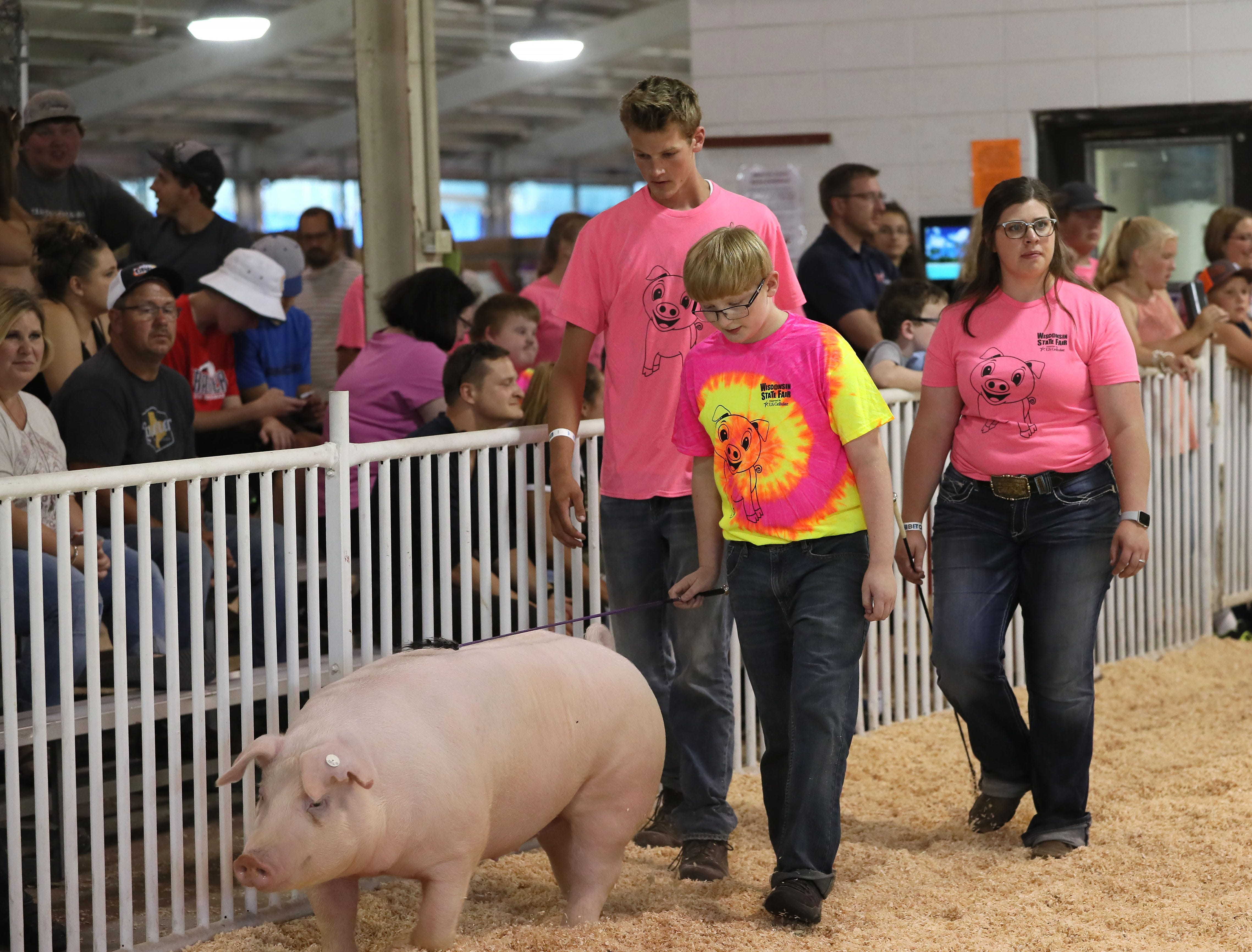 Sam Incha, 10, of Cambridge shows a pig named Ida around the ring at Wisconsin State Fair, with help from mentors Morgan Fitzsimmons (right), 19, of Mineral Point, and Tanner London (center), 18, of Clinton. The All for One Swine Show gives youth with intellectual disabilities the chance to show a pig at the state fair.