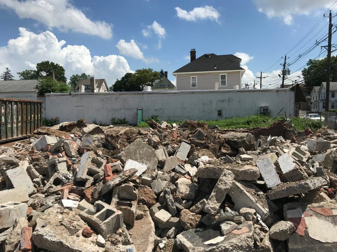 Wreckage is seen on Friday, Aug. 3, 2018, following the tear down of Rita's in Belleville.