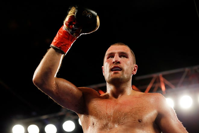 Sergey Kovalev, of Russia, after defeating Igor Mikhalkin, of Russia, in their WBO light heavyweight title boxing match Saturday, March 3, 2018, in New York.