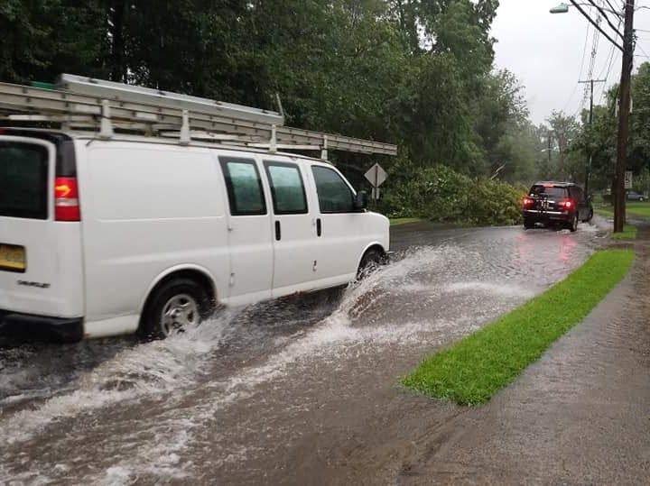 Flooding on Doremus Avenue in Glen Rock Aug. 3, 2018.