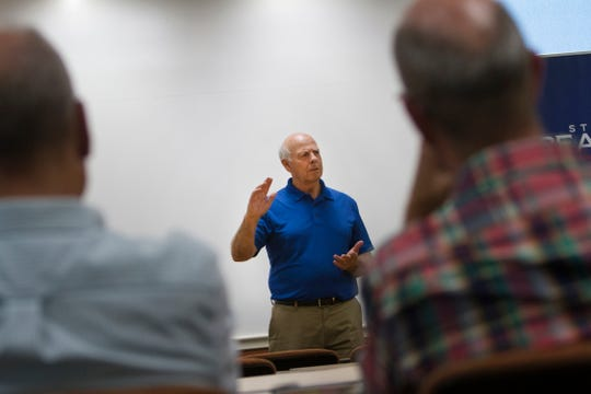 U.S. Rep. Steve Pearce, the Republican candidate for governor, addresses the crowd Thursday during a meeting at the San Juan College School of Energy in Farmington.