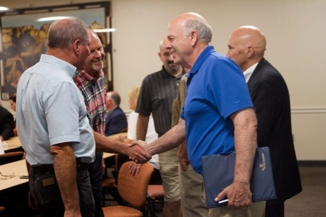 New Mexico gubernatorial candidate Steve Pearce, center, meets with local leaders and business people Thursday at the San Juan College School of Energy in Farmington.