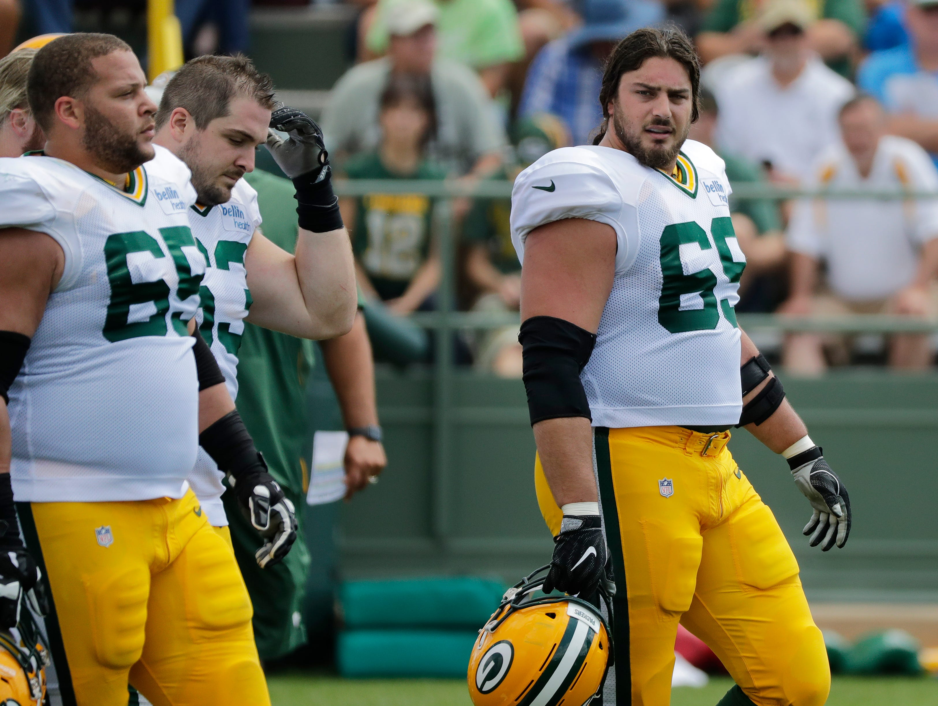 Green Bay Packers offensive tackle David Bakhtiari (69) during training camp practice at Ray Nitschke Field on Friday, August 3, 2018 in Ashwaubenon, Wis. 