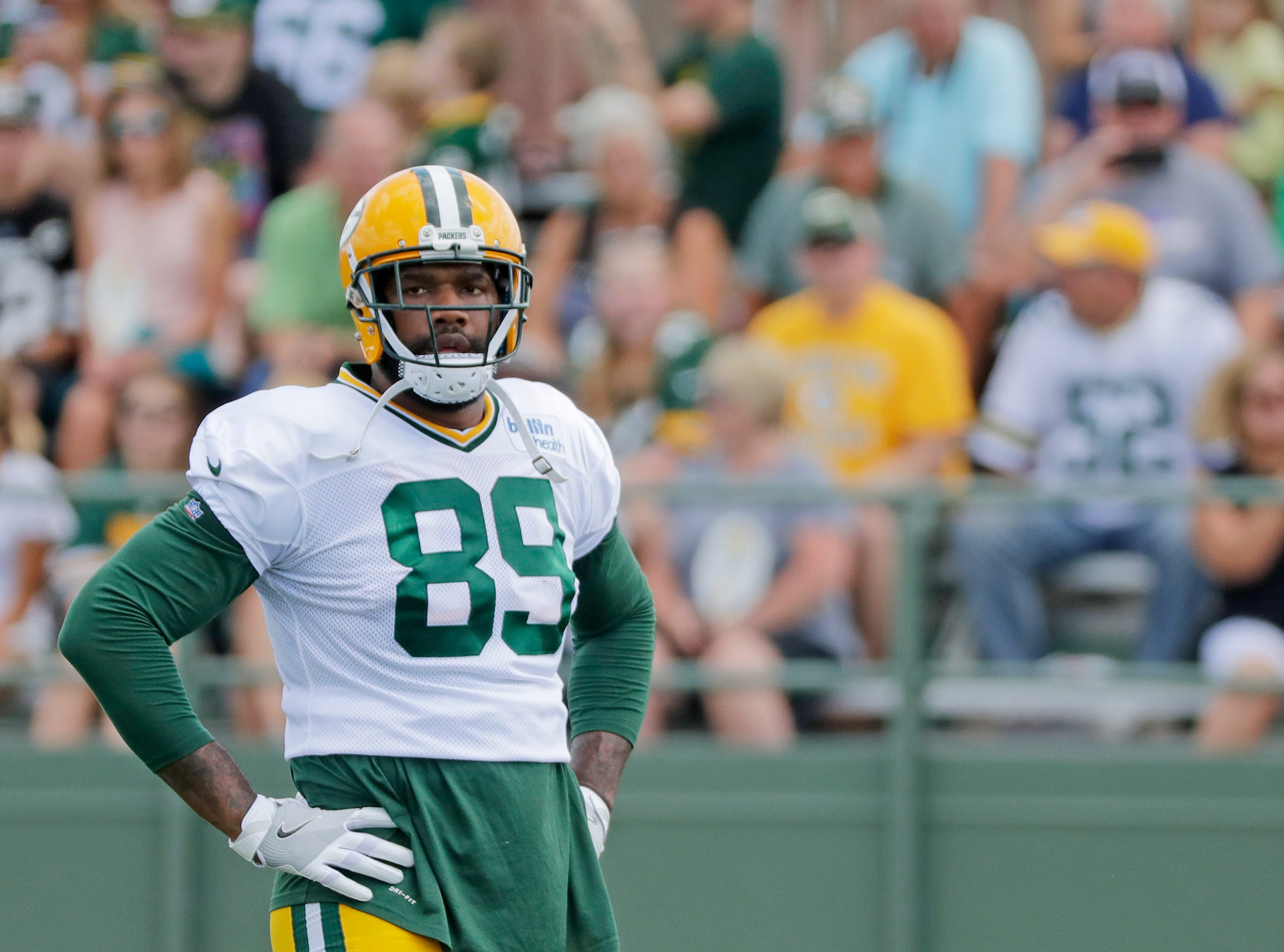Green Bay Packers tight end Marcedes Lewis (89) during training camp practice at Ray Nitschke Field on Friday, August 3, 2018 in Ashwaubenon, Wis. 