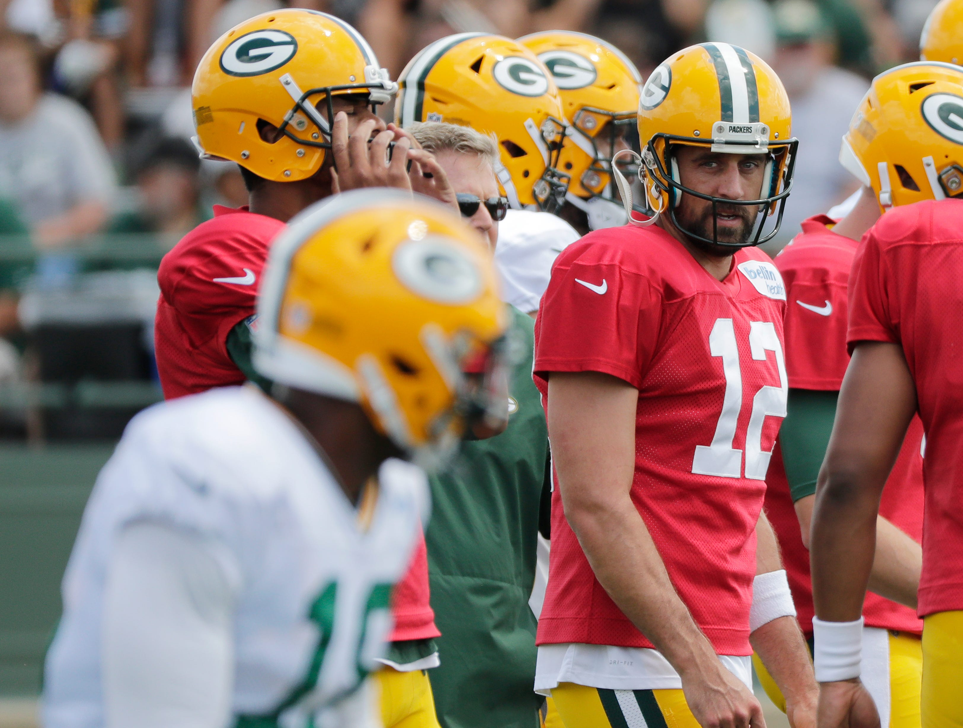 Green Bay Packers quarterback Aaron Rodgers (12) during training camp practice at Ray Nitschke Field on Friday, August 3, 2018 in Ashwaubenon, Wis. 