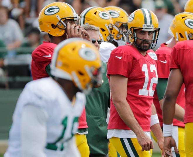 Green Bay Packers quarterback Aaron Rodgers (12) during training camp practice at Ray Nitschke Field on Friday, August 3, 2018 in Ashwaubenon, Wis. Adam Wesley/USA TODAY NETWORK-Wisconsin