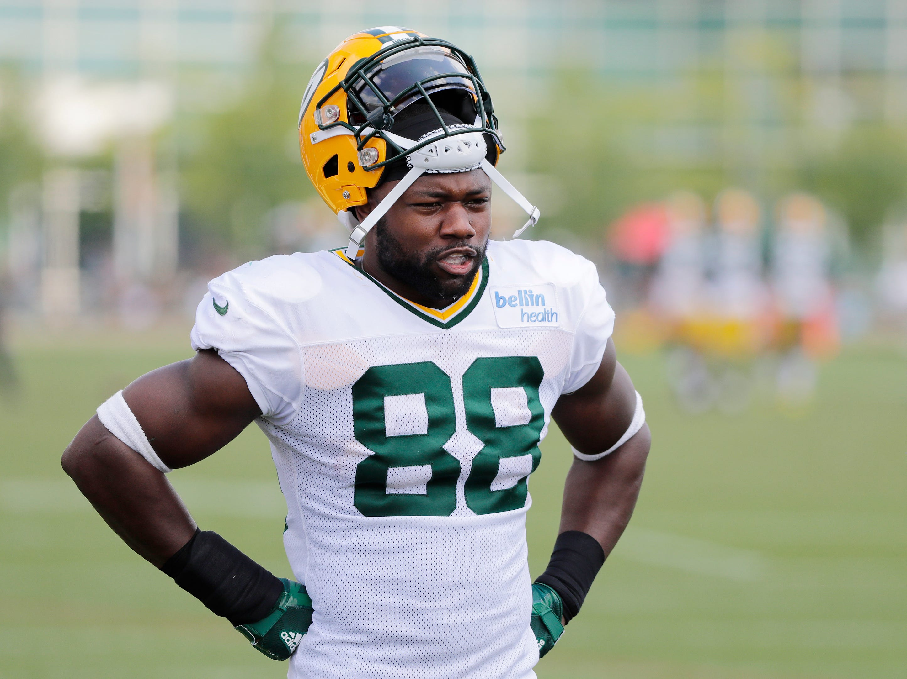 Green Bay Packers running back Ty Montgomery (88) during training camp practice at Ray Nitschke Field on Friday, August 3, 2018 in Ashwaubenon, Wis. 