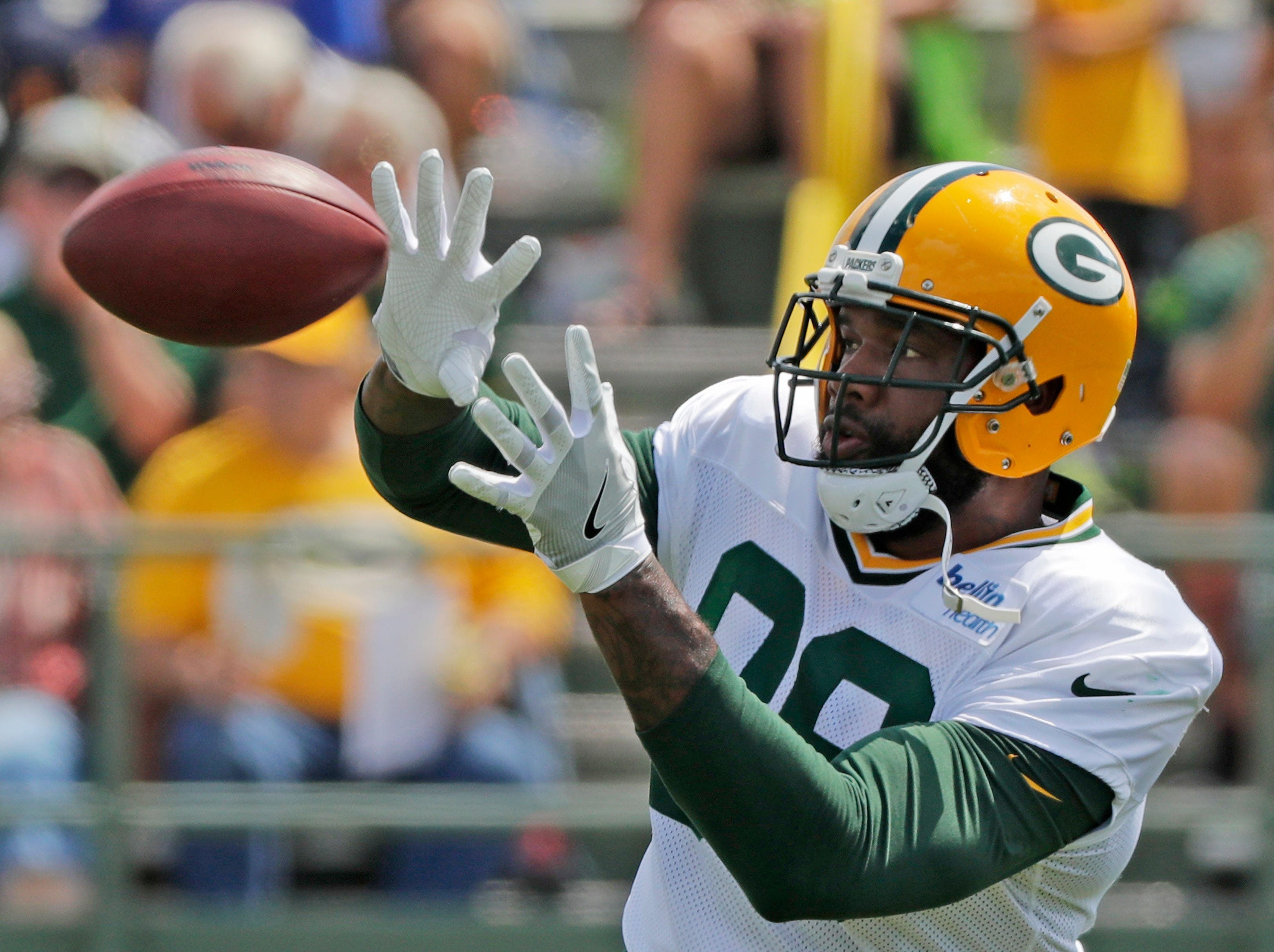 Green Bay Packers tight end Marcedes Lewis (89) catches a ball during training camp practice at Ray Nitschke Field on Friday, August 3, 2018 in Ashwaubenon, Wis. 
