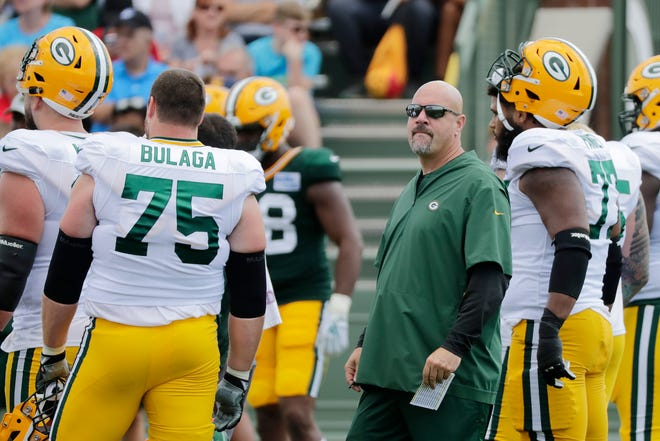 Green Bay Packers defensive coordinator Mike Pettine looks on during training camp practice at Ray Nitschke Field on Friday, August 3, 2018 in Ashwaubenon, Wis. Adam Wesley/USA TODAY NETWORK-Wisconsin