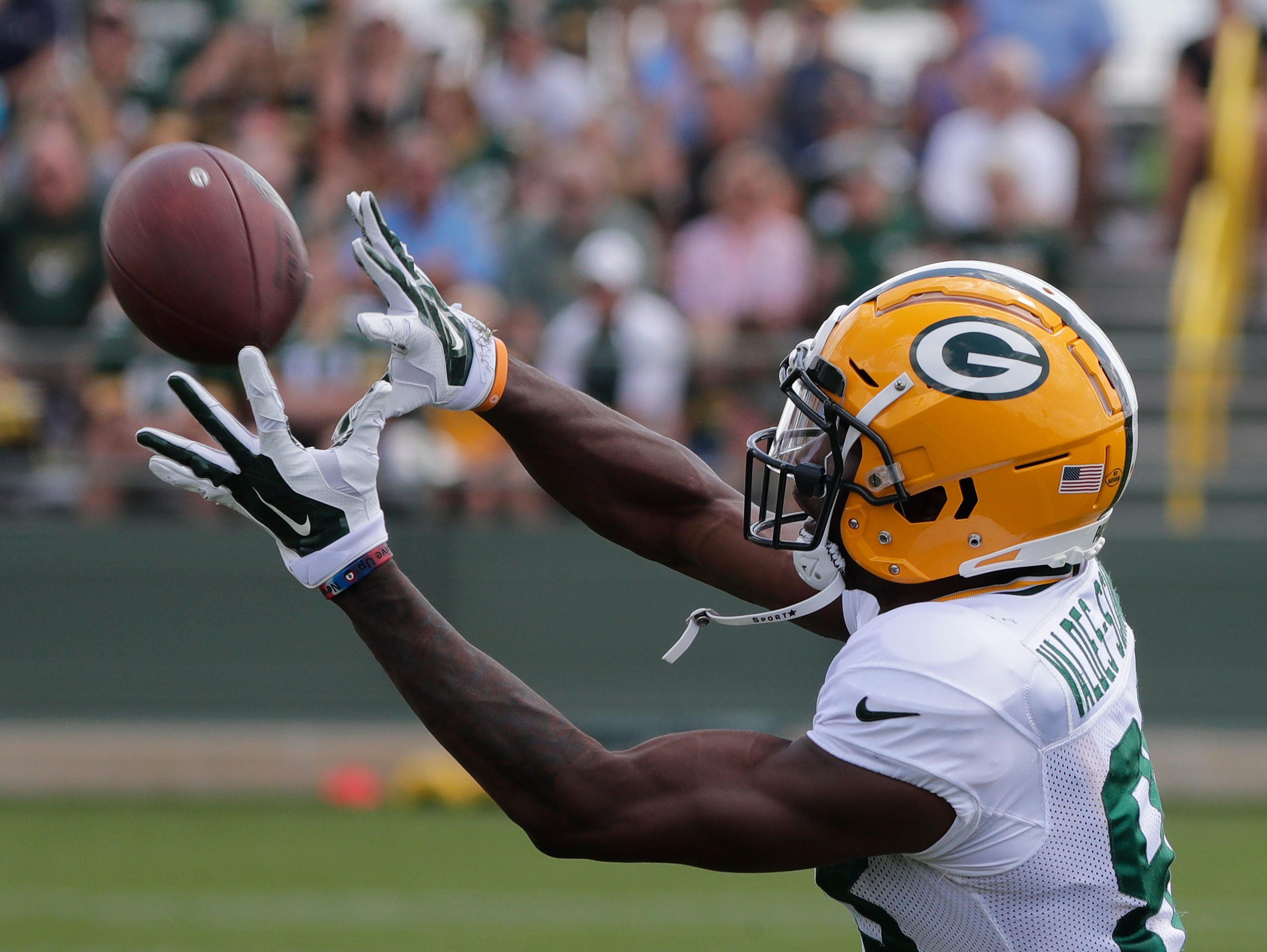 Green Bay Packers wide receiver Marquez Valdes-Scantling (83) during training camp practice at Ray Nitschke Field on Friday, August 3, 2018 in Ashwaubenon, Wis. 