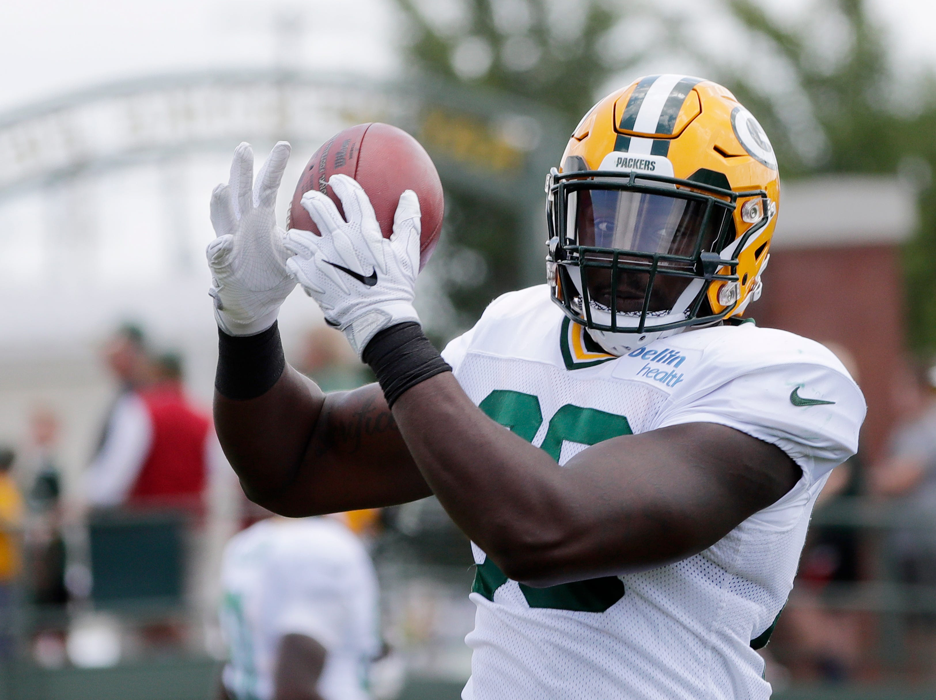 Green Bay Packers tight end Emanuel Byrd (86) catches a ball during training camp practice at Ray Nitschke Field on Friday, August 3, 2018 in Ashwaubenon, Wis. 