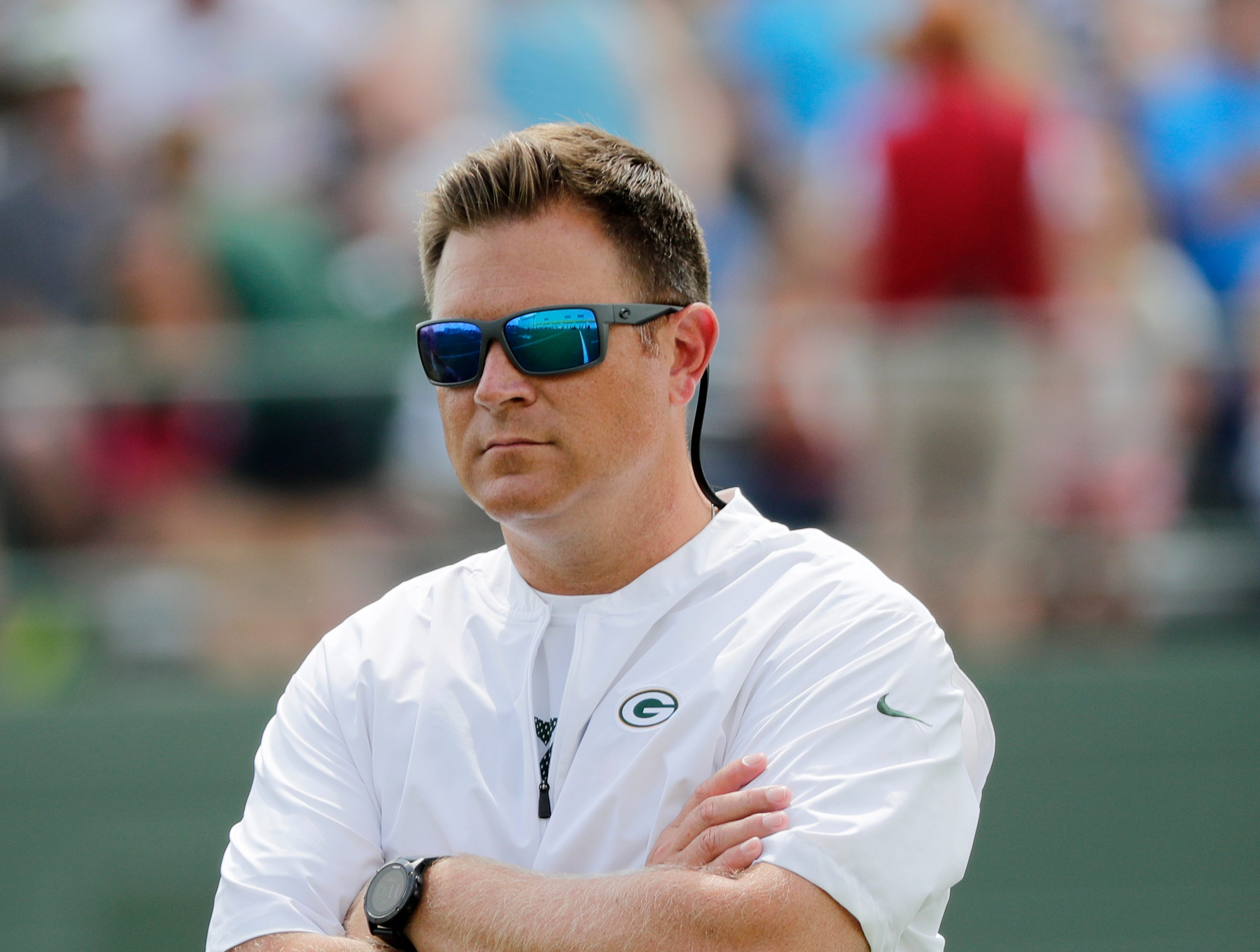 Green Bay Packers GM Brian Gutekunst watches during training camp practice at Ray Nitschke Field on Friday, August 3, 2018 in Ashwaubenon, Wis. 