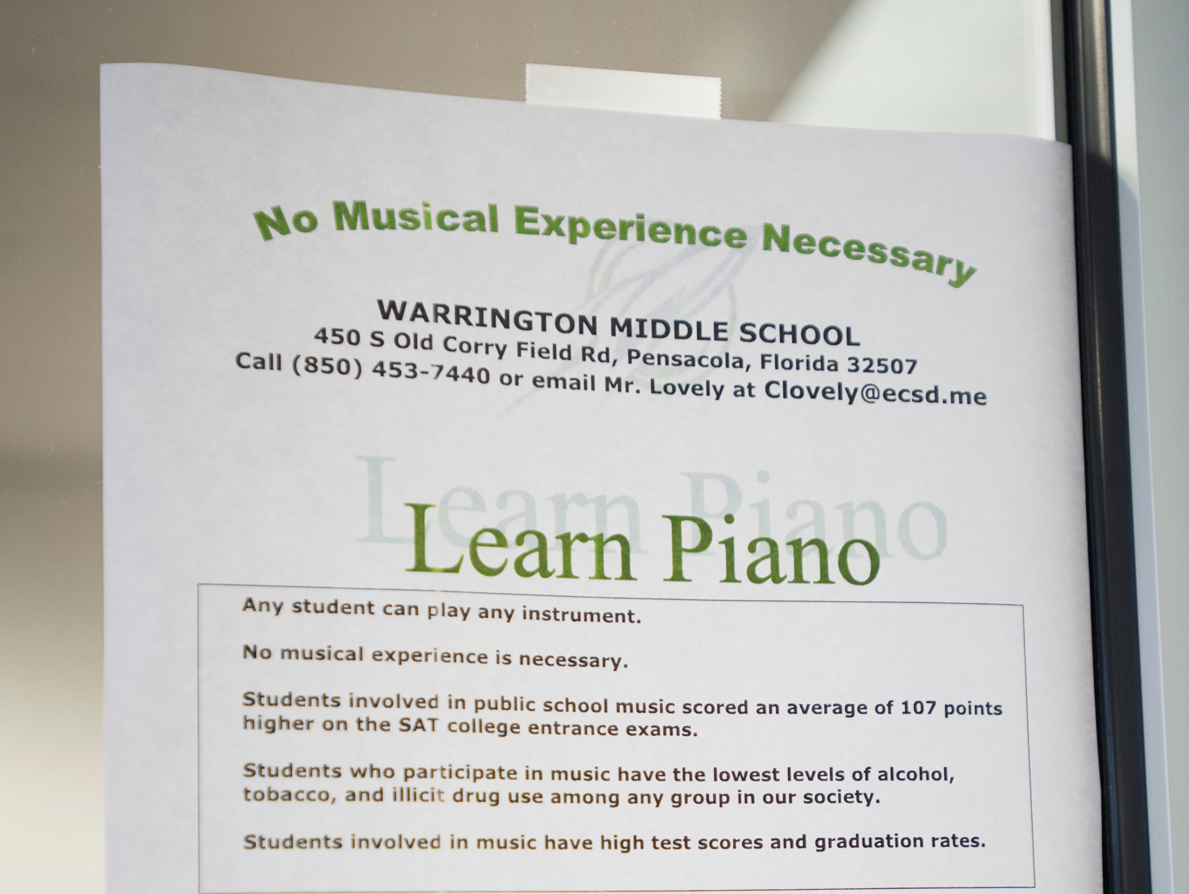 A flier announces lessons available in the new piano studio at Warrington Middle School in Pensacola on Friday, August 2, 2018.