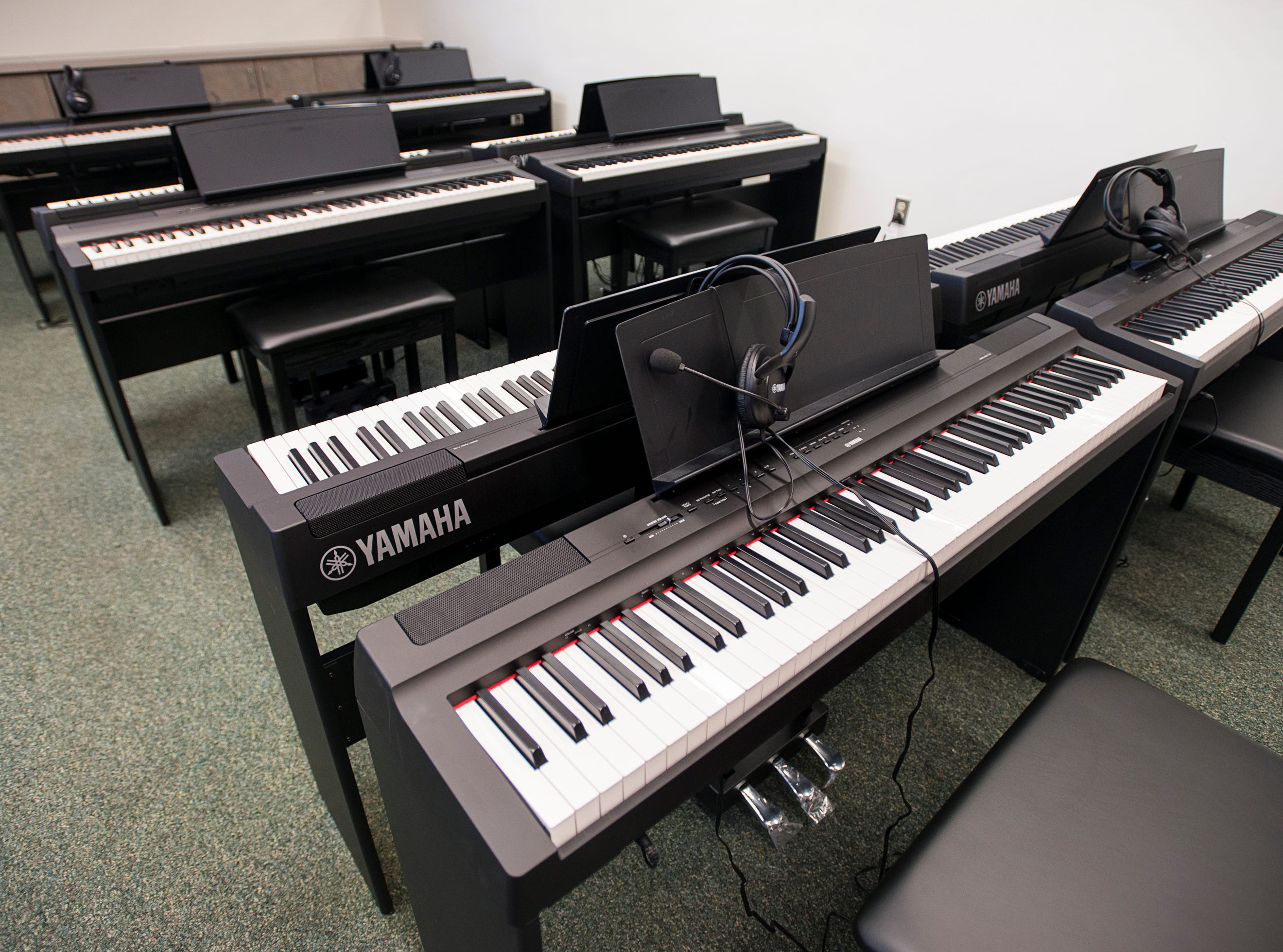 The new piano studio at Warrington Middle School in Pensacola on Friday, August 2, 2018.