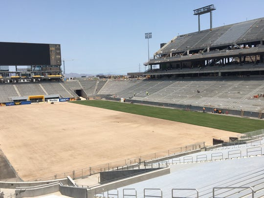 A look at the grass being installed at Sun Devil Stadium on July 31, 2018.