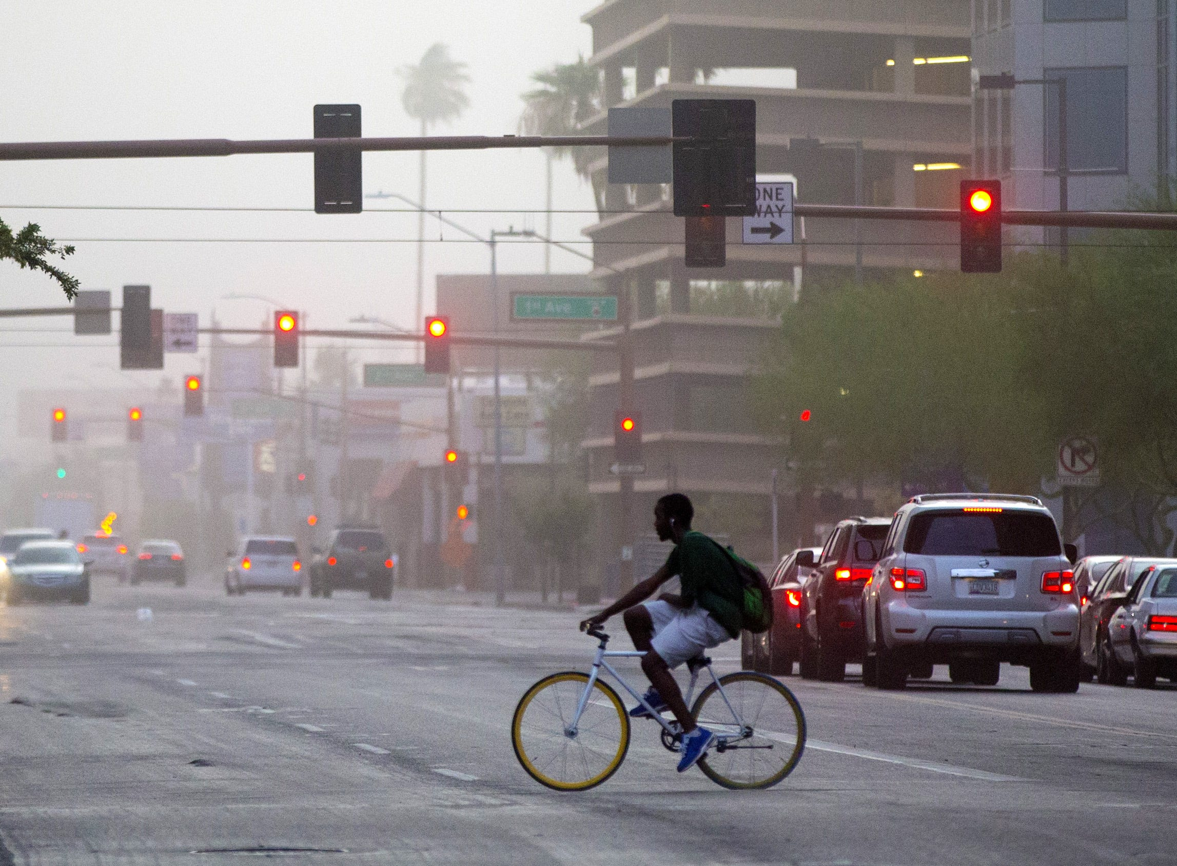 Dust hits downtown Phoenix on August 2, 2018.