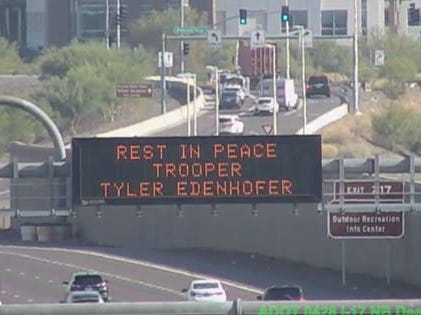 ADOT's message to drivers on Aug. 3, 2018, the day of the funeral for slain DPS Trooper Tyler Edenhofer.