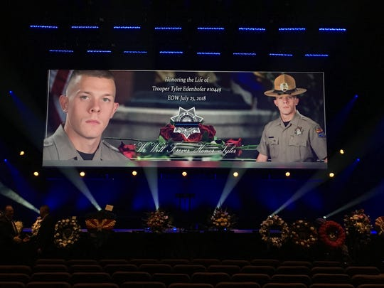 The scene at  the funeral for fallen Arizona Department of Public Safety Trooper Tyler Edenhofer, which was set for Friday Aug. 3, 2018 at Christ's Church of the Valley in Peoria.