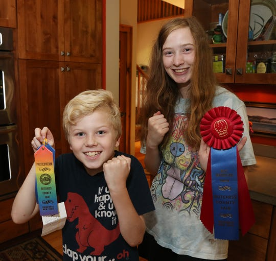 Luke and Rachel Fenwick show off some of the ribbons they won competing in the Dutchess County Fair at their home in Staatsburg on August 1, 2018.