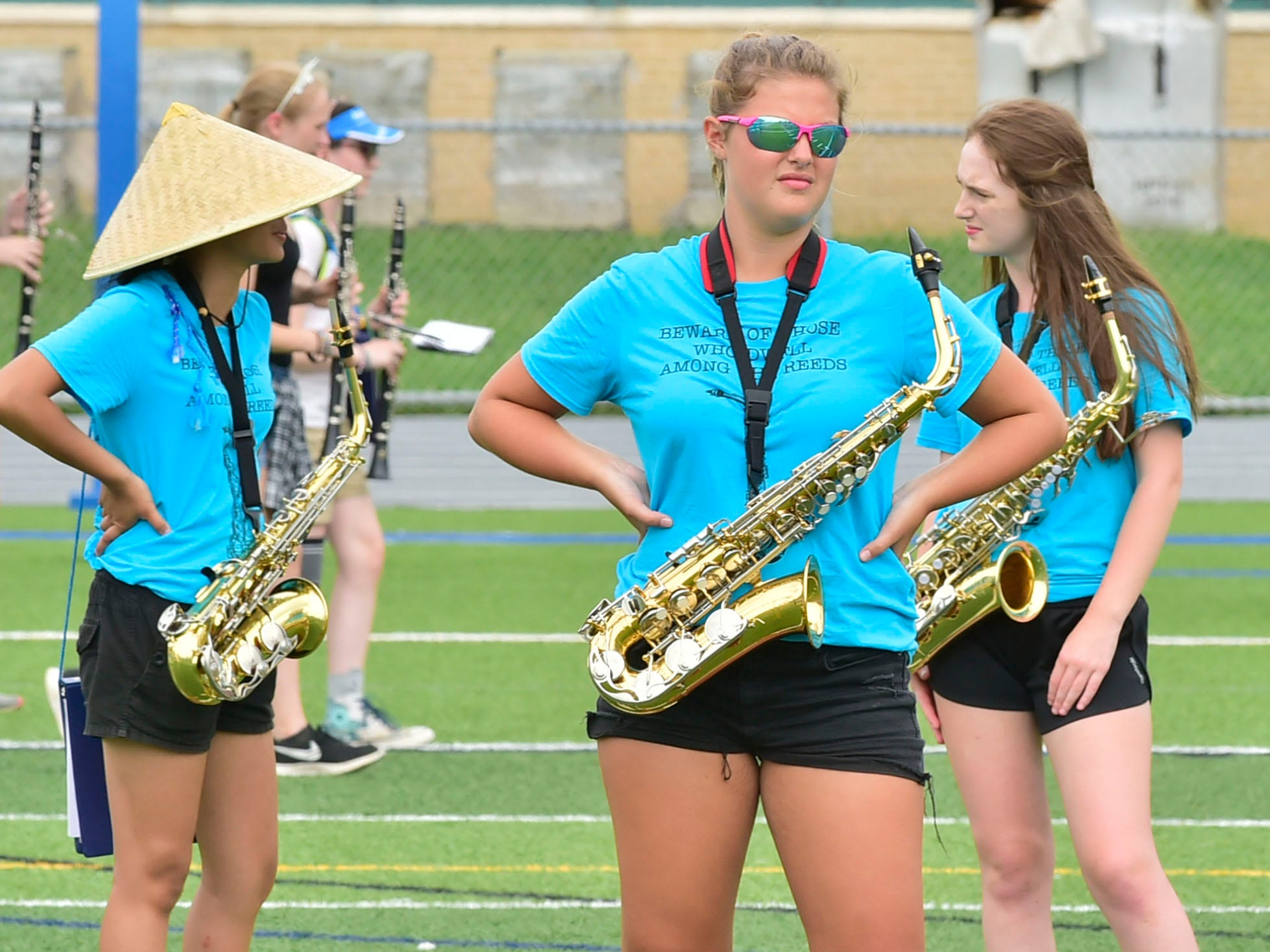 Students drill during the last day of  Chambersburg Marching Band camp on Friday, August 3, 2018 at Trojan Stadium. An exhibition is planned for Friday at 6:45 p.m. if weather permits.
