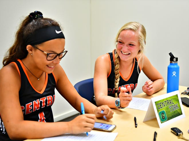 Central York field hockey players Breann Craley, left, and Kyra Heap are shown during York-Adams League Fall Sports Media Day at the York Newspaper Company in West Manchester Township, Friday, Aug. 3, 2018. Dawn J. Sagert
