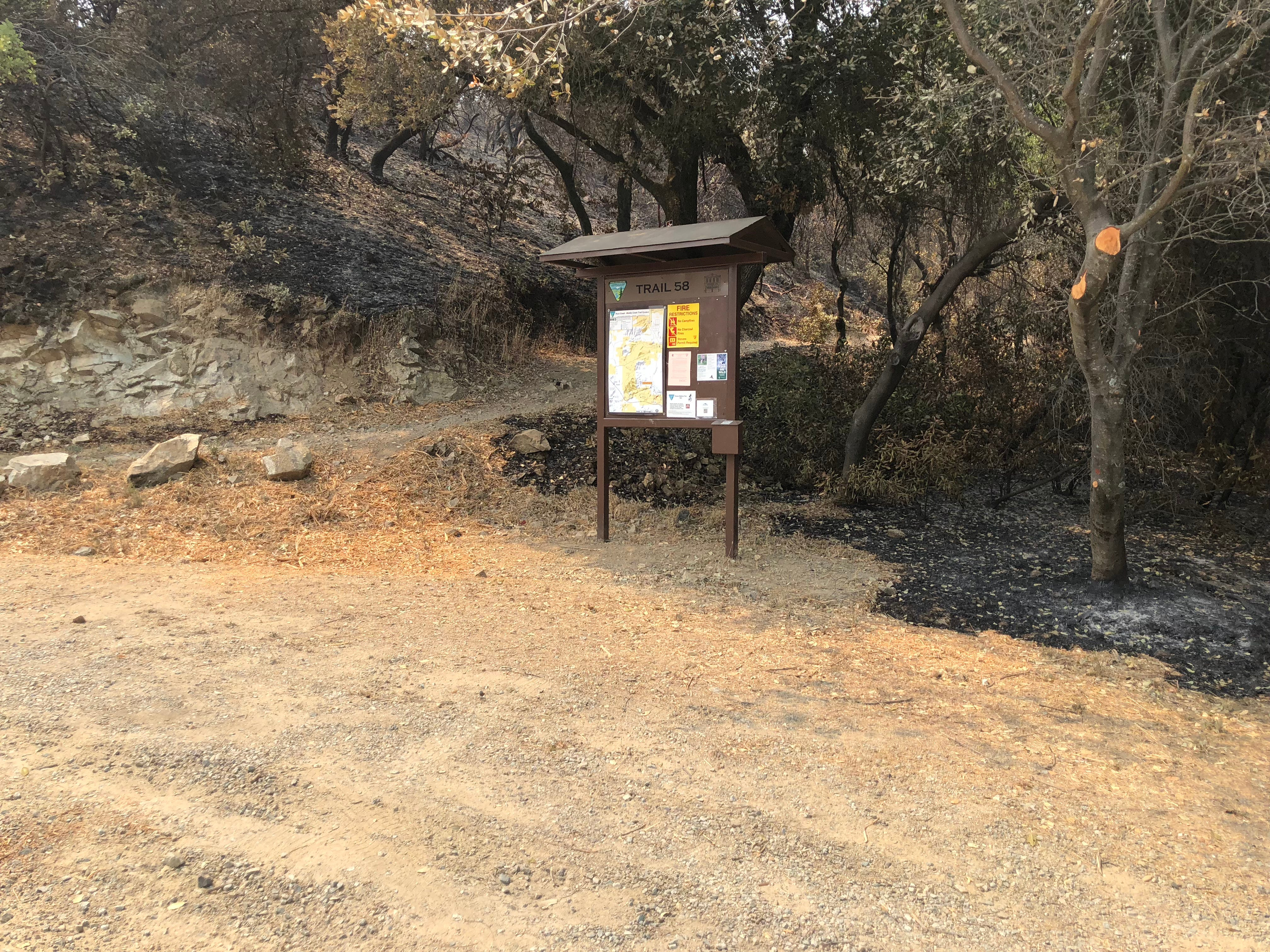 This parking area for Trial 58 off Iron Mountain Road is closed to the public as officials work on Carr Fire recovery efforts. A patch next to the trail is burnt but many trees near the area are still standing. Although one fallen tree is blocking the path at the beginning of the trail.