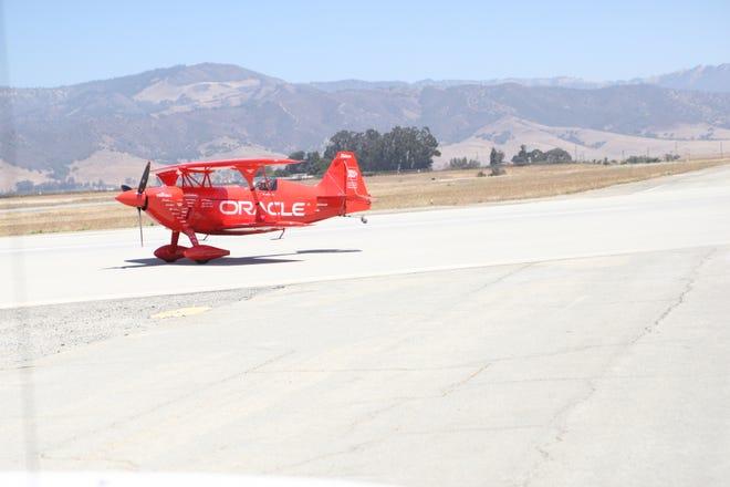 Sean Tucker's custom built plane lands at the Salinas Municipal Airport Friday afternoon.