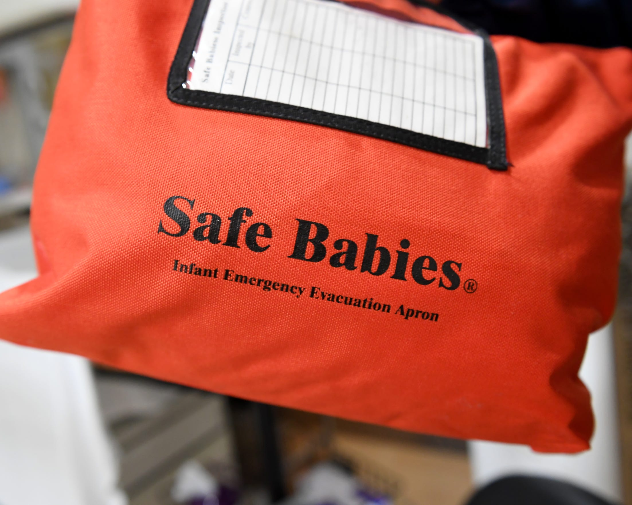 Mercy Medical Center Redding staff keeps a Safe Babies Infant Emergency Evacuation Apron on hand in the event of a rapid emergency evacuation of the neonatal intensive unit.