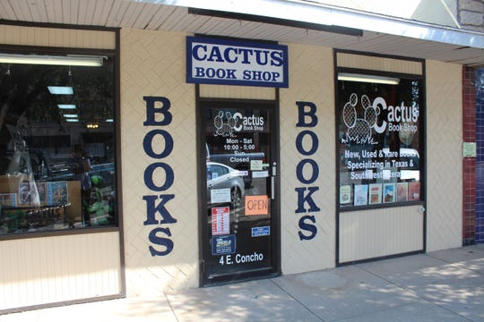 Storefront of Cactus Book Shop at 4 East Concho Ave.