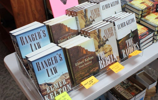 Some of Elmer Kelton's books are showcased Friday, Aug. 3, 2018 at Cactus Book Shop, 4 East Concho Avenue.