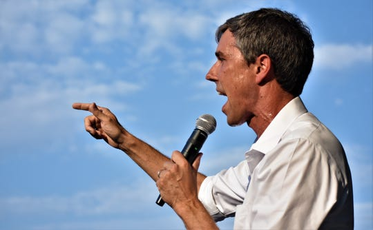 U.S. House Rep. Beto O'Rourke addresses an audience as he campaigns for U.S. Senate on August 2, 2018 at the Concho Pearl Icehouse in San Angelo.