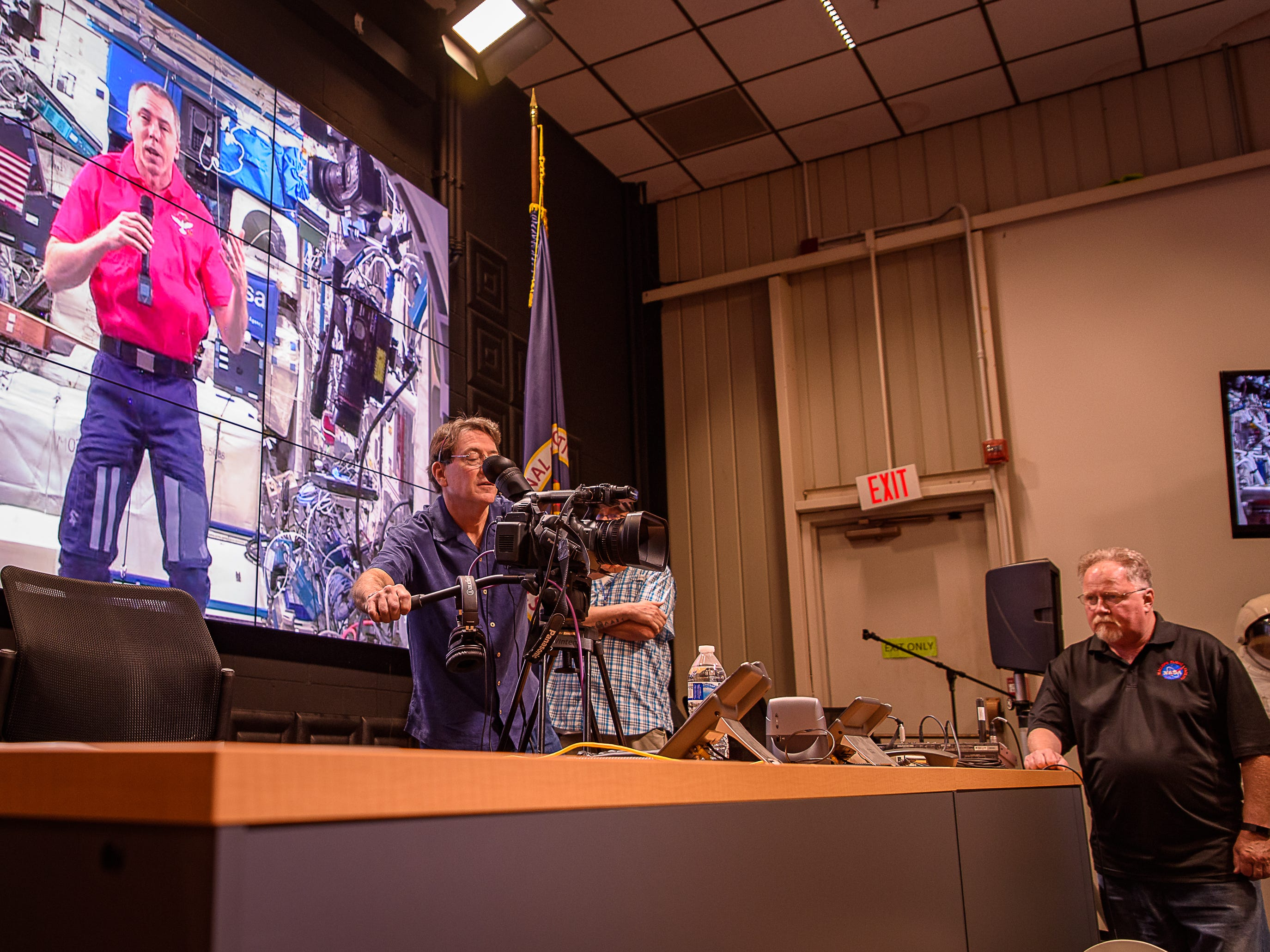Patrick Kennedy, left, and Mike Velle, technicians with the Wallops Flight Facility, work to make sure everything works before students spoke with astronauts aboard the International Space Station as part of NASA's Year of Education on Station on Aug. 2, 2018.