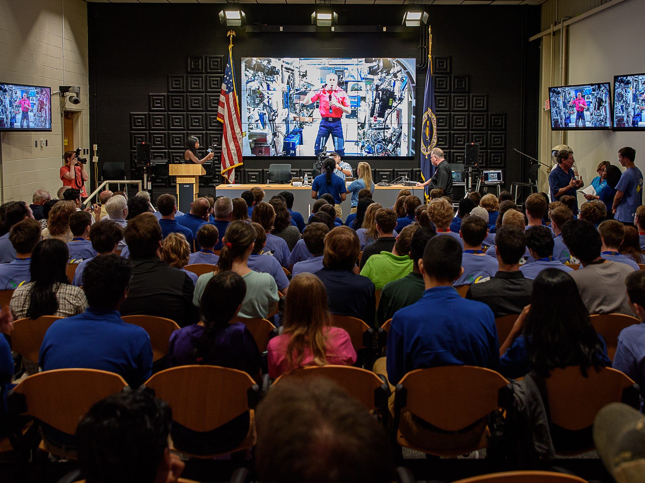 U.S. astronaut Andrew Feustel responds to students at Wallops Flight Facility while aboard the International Space Station as part of NASA's Year of Education on Station program on Aug. 2, 2018.