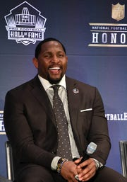 Feb 3, 2018; Minneapolis, MN, USA; The Pro Football Hall of Fame's Class of 2018 inductee Ray Lewis during media availabilities during the NFL Honors show at Cyrus Northrop Memorial Auditorium at the University of Minnesota. Mandatory Credit: Kirby Lee-USA TODAY Sports