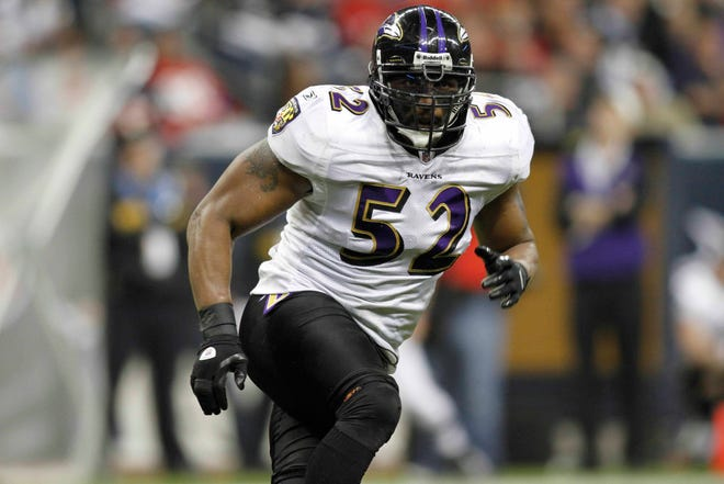 Dec 13, 2010; Houston, TX, USA; Baltimore Ravens linebacker Ray Lewis (52) against the Houston Texans in the fourth quarter at Reliant Stadium. The Ravens defeated the Texans 34-28. Mandatory Credit: Brett Davis-USA TODAY Sports
